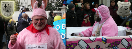 bärtiger Mann in rosa Kostüm