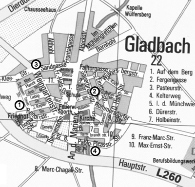 Straßennamen Gladbach
