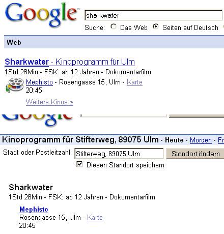 lokale Kinosuche bei Google
